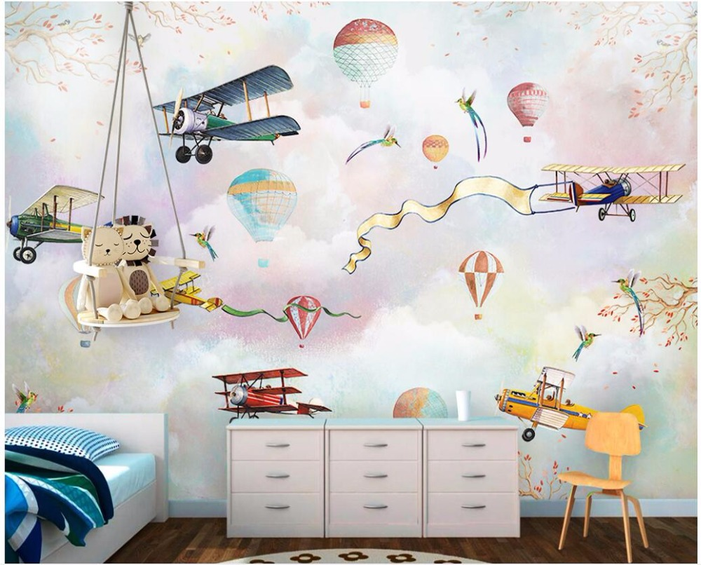 3d Room Wallpaper Custom Photo Cartoon Hot Air Balloon