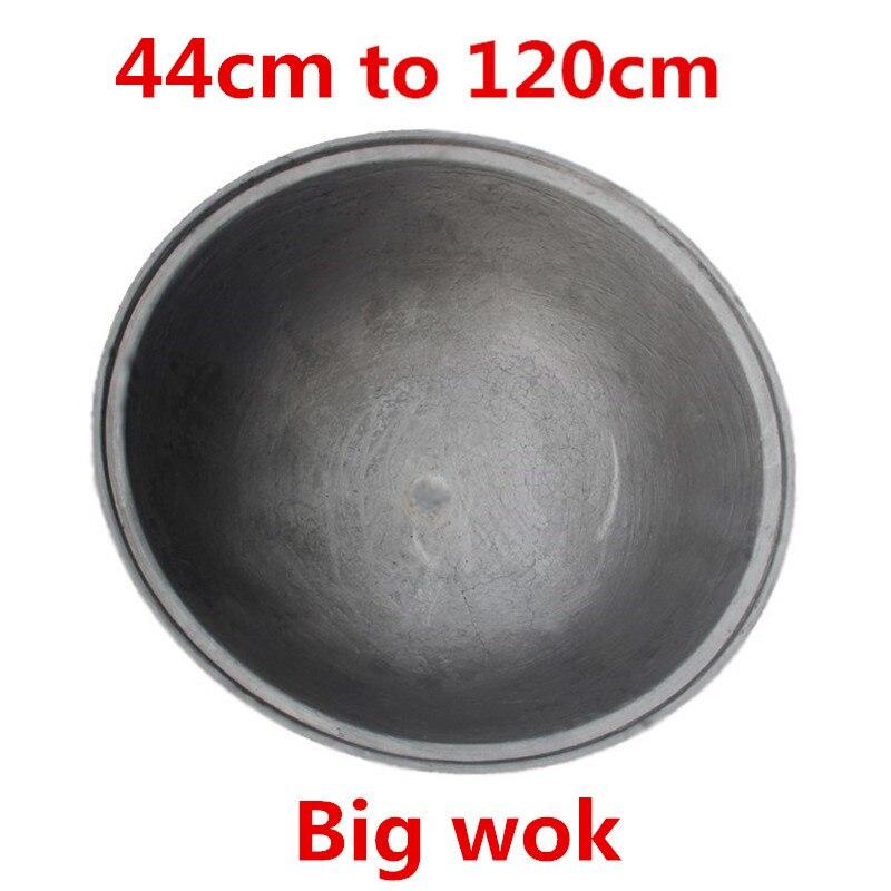 Grande grande poêle ronde en fonte wok poêle sans revêtement camping en plein air chef utilisé cuisinière à gaz chinois poêle wok