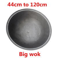 Super large big round cast iron wok cooking pot skillet no coating camping outdoor chef used Chinese Gas Cooker Cookware wok pan