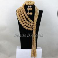 Big Full Nigerian Wedding Beads Gold Crystal African Jewelry Sets Women Costume Bridal Lace Necklace Sets Free Shipping ABK840