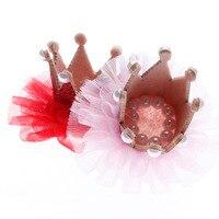 2017 6 colori Neonato 3D Sentiva Bambino Corona Con Fiore Della Maglia per le Ragazze Accessori per Capelli Glitter Feltro Corona Per Il Primo Cappello Di Compleanno