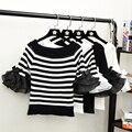 Frauen Mode Slash Neck Striped T shirts Tops Mädchen Gestrickte Patchwork Chiffon-T-shirt Crop Top für Weibliche
