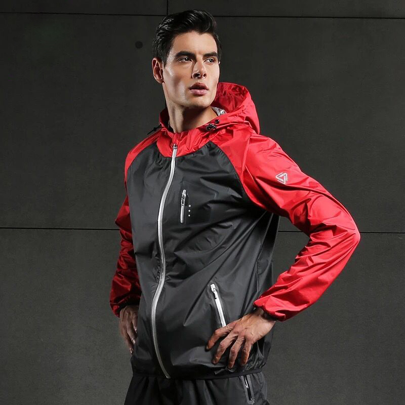 Hot Sweat Men Running Jackets Long Sleeve Gym Fitness Tops Hooded Zipper Coat Sportswear Fitness Exercise Sports Gym Jacket