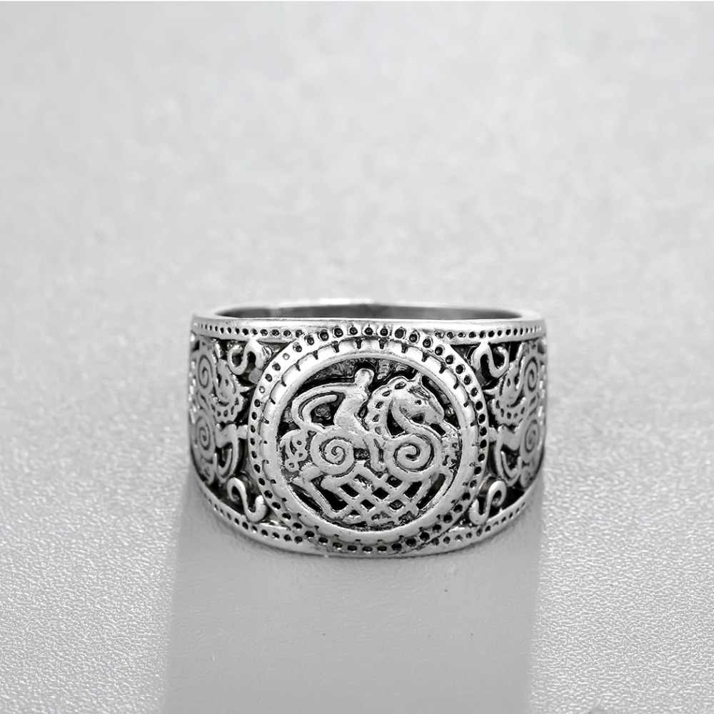 CHENGXUN Bergaya Etnik Barat Antik Perak Cincin Stempel Norse Viking Perhiasan Sleipnir Kuda Cincin Biker Pria Perhiasan