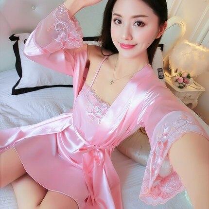 2018 Hot New Women's Plus Size Sleepwear 2Pcs Outwear+Sleep Dress Girls Summer Sexy Lace Nightgowns Sleepshirts Print Nightgown 5