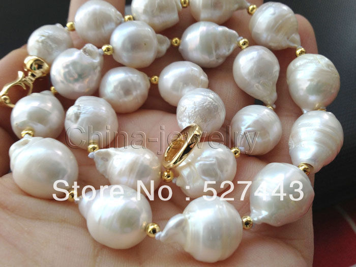 Wholesale free shipping >>Natural Beautiful 13-17mm white baroque keshi reborn FW pearl necklace цена и фото