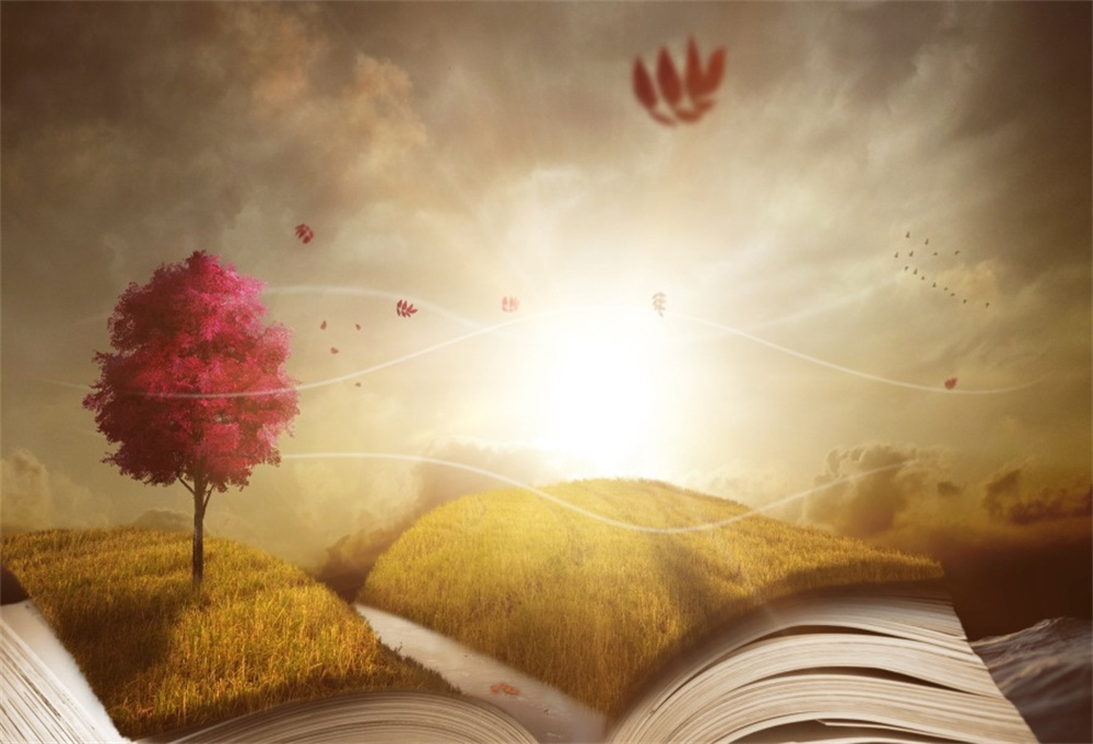 Laeacco Opened Book Grassland Tree Light Fantasy Photographic Backgrounds Customized Pho ...