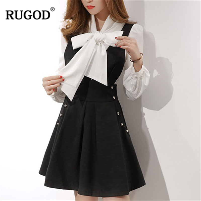 RUGOD 2019 New Fashion Female Sweet Lady Skirts Suit Sets V-Neck Lantern Sleeve Bow Tops Sets Knee-Length Solid Skirts For Women