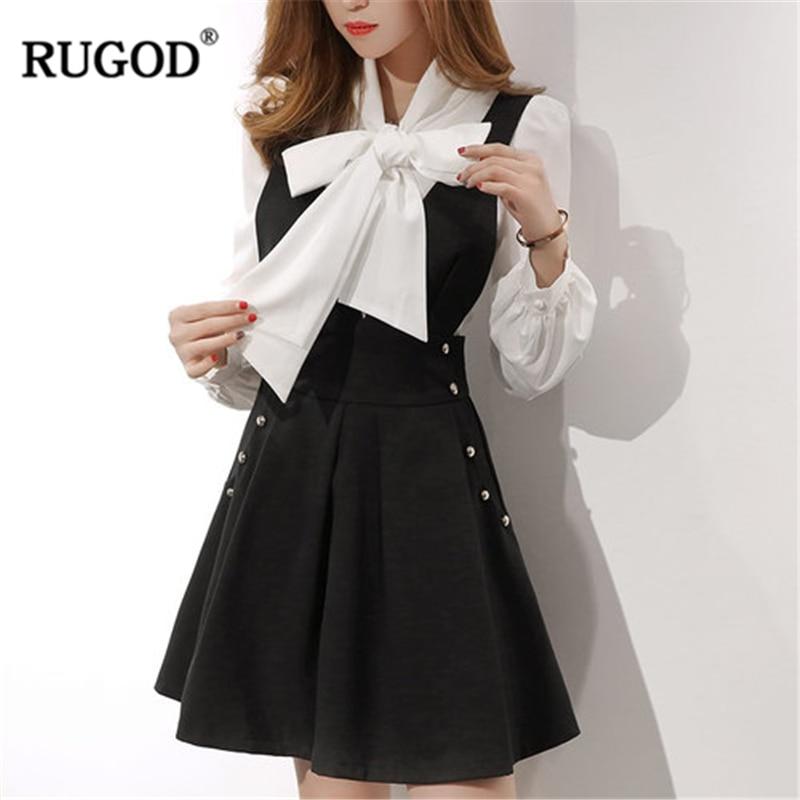 RUGOD 2019 New Fashion Female Sweet Lady Skirts Suit Sets V-Neck Lantern Sleeve Bow Tops Sets Knee-Length Solid Skirts For Women