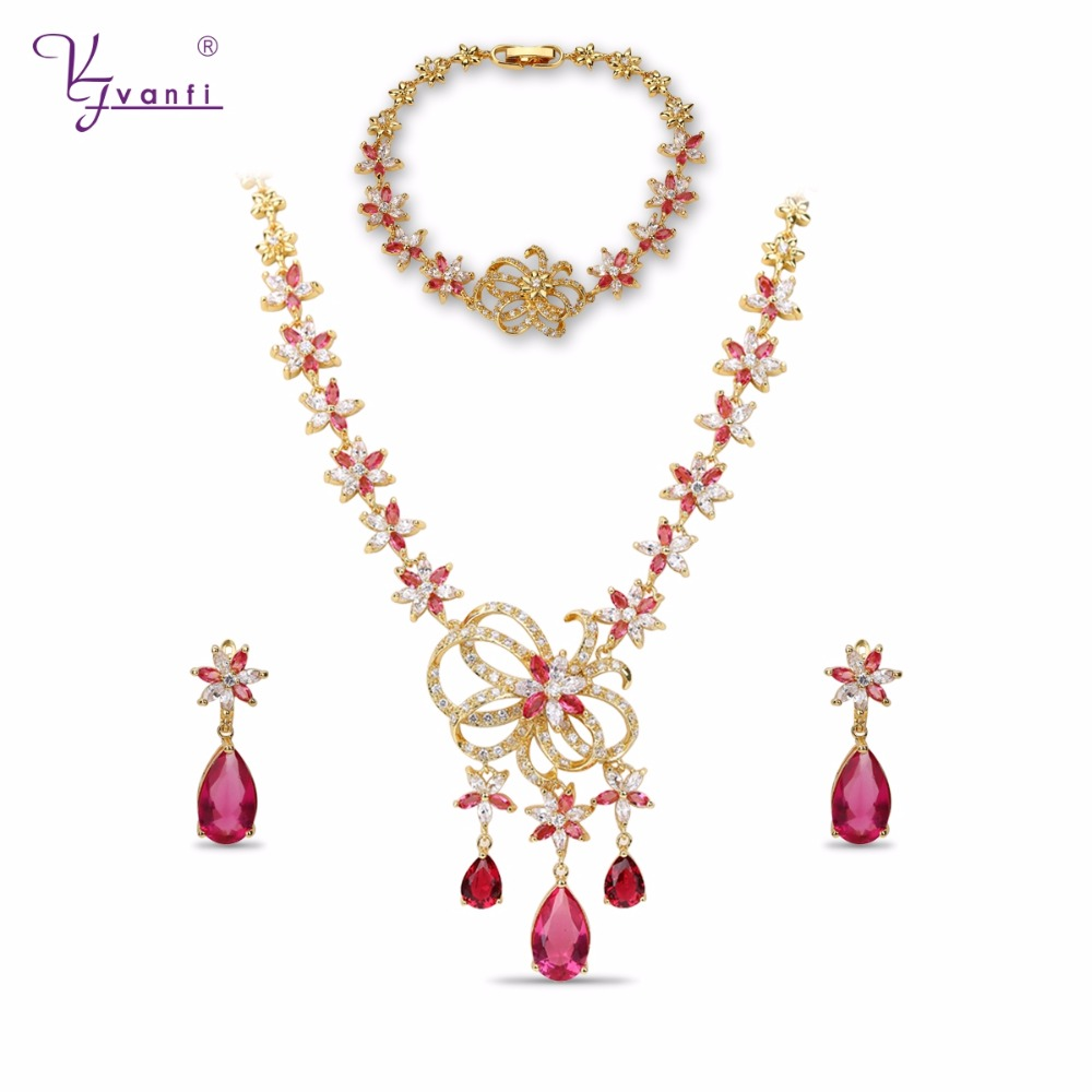 New Style Colorful Circular Flower Shape Necklace&Earring&Bracelet Gold Plate Jewelry Sets For Women Party And Wedding chic flower shape and sequins embellished newsboy hat for women