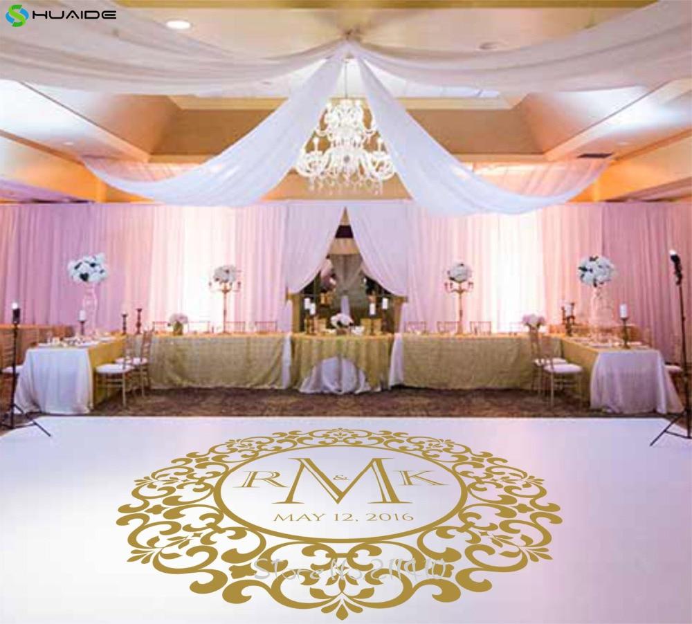 Custom Naam Muurtattoo Wedding Floor Stickers Party Dansen