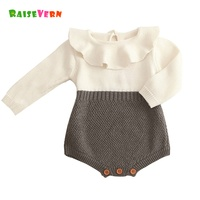 Fashion Spring Autumn Baby Girl Knitted Bodysuit Cotton Long Sleeve Jumpsuit Infant Romper Solid Princess Lovely