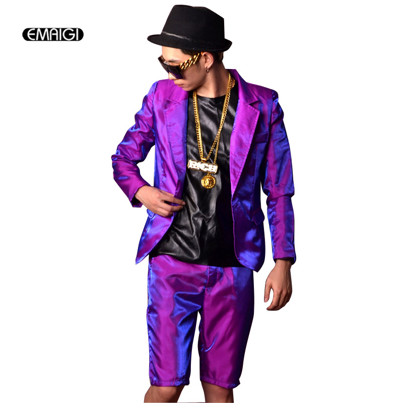 <font><b>Men</b></font> Shine Casual <font><b>Suits</b></font> Sets (jacket+<font><b>shorts</b></font>) Male Hip Hop Slim Fit Blazer Jacket Singer Dancer DJ Stage Costumes Custom Made image