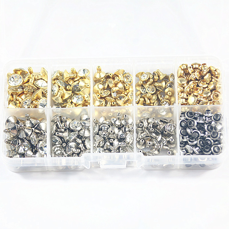 100boxes 240sets 4 Size Punk Diamond Spikes Rivets/Rhinestone Studs  Double-sided Rivet for Leather/Belt/Handbag DIY Accessories