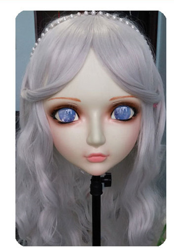 dm039 Women/girl Sweet Resin Half Head Kigurumi Bjd Mask Cosplay Japanese Anime Lifelike Lolita Mask Crossdressing Sex Doll Novelty & Special Use