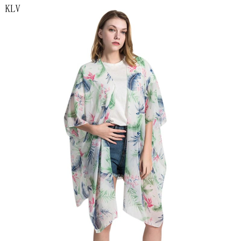 magasin officiel Prix 50% nouveau authentique US $7.41 29% OFF Women Travel Outdoor Half Sleeves Chiffon Kimono Cape  Bohemian Leaves Floral Printed Cardigan Semi Sheer Loose Beachwear Shawl-in  ...