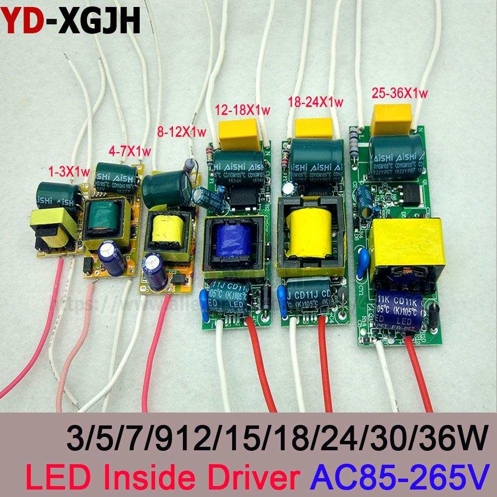 Transformador de iluminación AC 220 V, fuente de alimentación de corriente constante 300mA IC, Built-in1-36W Entrada de Controlador LED para bombilla de lámparas LED DIY Controlador cree XHP70 6v 5 modo dia26mm input7-18v output6V 4A controlador de linterna Led de corriente constante