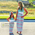 Mother Daughter Dresses Fashion Sleeveless Striped Family Look Matching Clothes Cotton Mom And Kids Dress Family Clothing