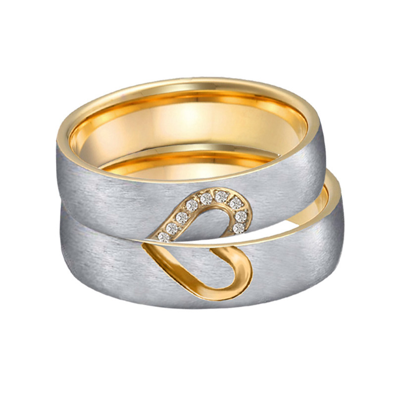 Alliance Matching Wedding Rings Set For Men And Women Gold Color Ladies Jewelry Ring Cz Heart Promise Marriage Rings For Couples Wedding Bands Aliexpress