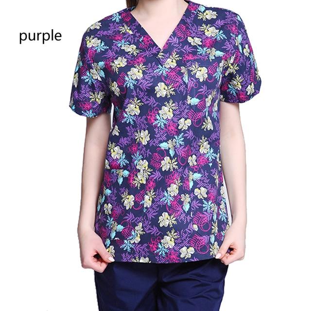 c45af4e3451 Women's Cute Printed V-Neck Scrub Tops / Medical Nursing Uniform