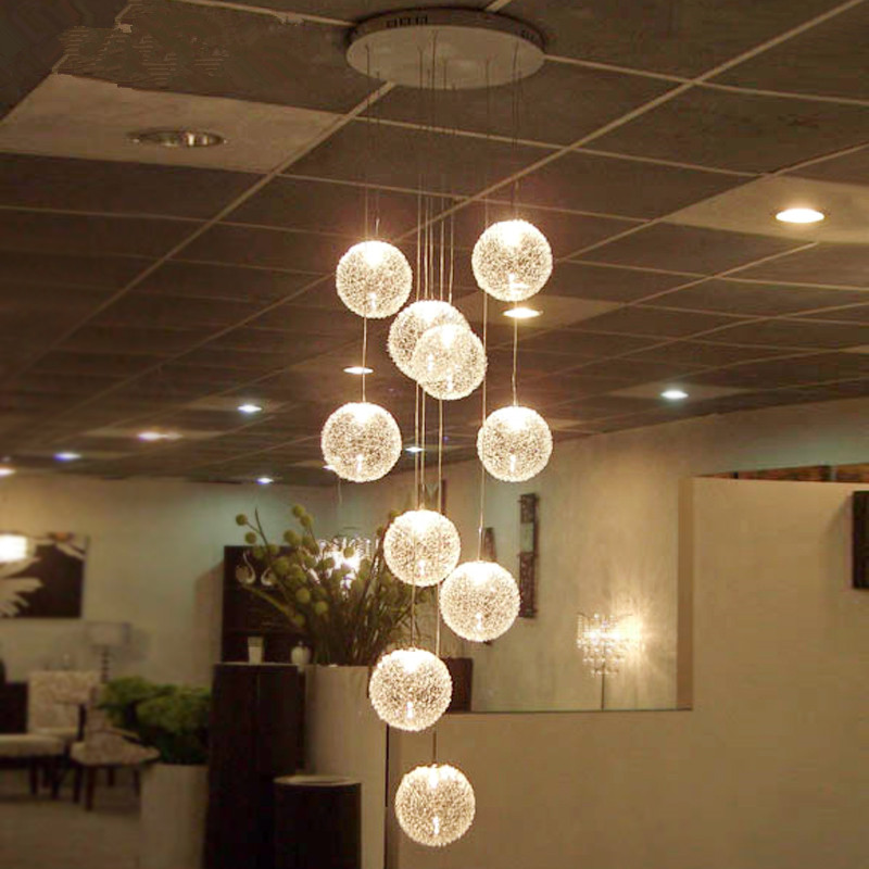 Modern Chandeliers LED Round Glass Globle Ceiling Hanglamps long Stair ball Lighting E27 10 lights for living Room Fixtures chandeliers lights led lamps e27 bulbs iron ceiling fixtures glass cover american european style for living room bedroom 1031