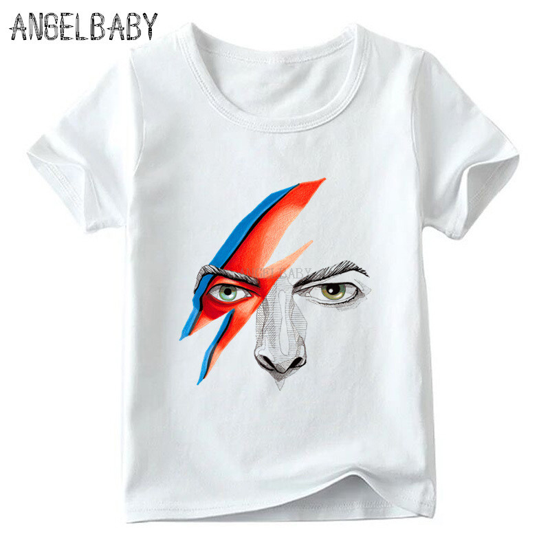 Boys/Girls Rock David Bowie Ziggy Stardust Print T-shirt Children Summer Short Sleeve Tops Baby Kids Casual Funny T Shirt,ooo515