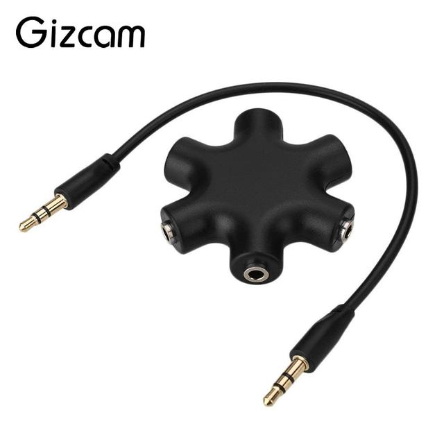 4074d97c04d67b Gizcam 3.5mm Jack 6 Multi Port Hub Aux Earphone Headphone Headset Splitter Audio  Cable Adapter