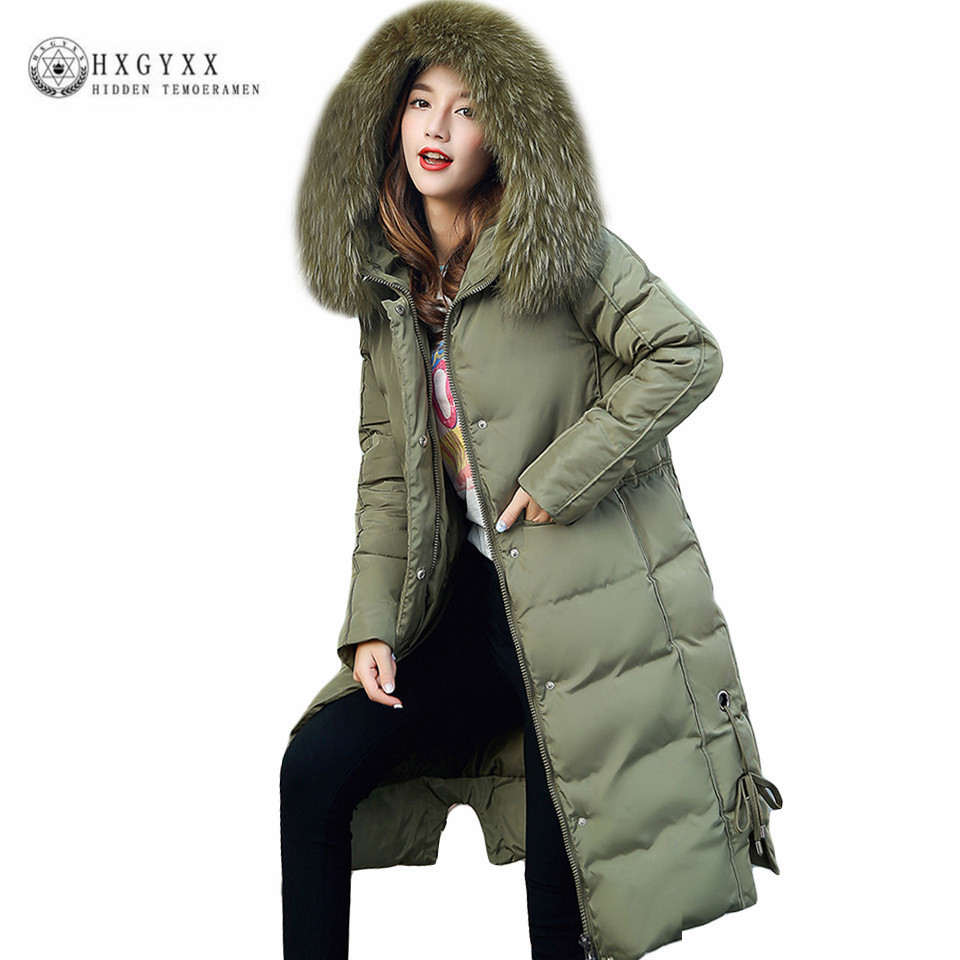 4XL Big Fur Hooded Green Military Parka Women Quilted Coat Winter Down Cotton Puffer Jacket 2017 Slim Long Warm Outwear Oka618 2017 men down jacket winter warm collar fur trim hood coat outwear puffer down cotton long jacket clothes thick canada cheap top