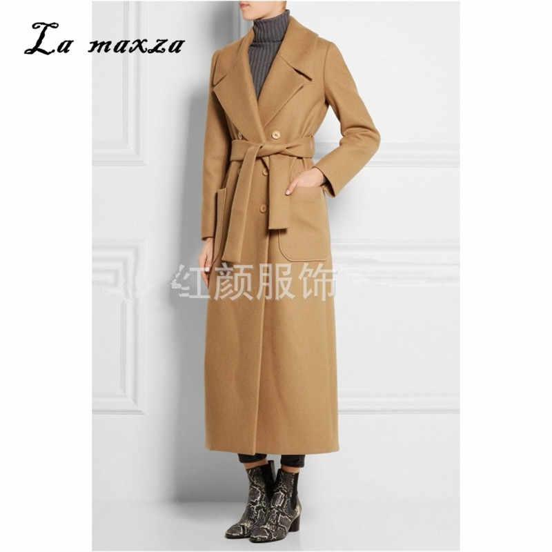 Для женщин зимнее пальто шерсть 2018 Винтаж элегантная одежда верблюд OL модная верхняя одежда длинное пальто