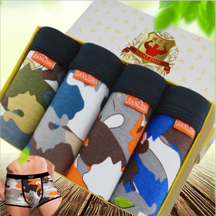 Boxer Freies Verschiffen Festigkeit Männer Unterwäsche Moodell Camouflage Mode #7378 Größe L-3xl Exotische Kleidung