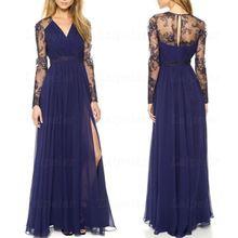 Elegant Floral Lace Embroidery Party Dress 2018 Fashion V Neck Long Sleeve Maxi Dresses Women Sexy Streetwear Dress Vestidos
