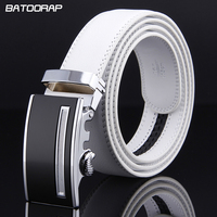 2017 Fashion Mens Luxury Automatic Buckle Belts White Solid Strap Male Genuine Leather Jeans Cinturones Hombre