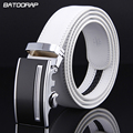 2017 Fashion Mens Luxury Automatic Buckle Belts White Solid Strap Male Genuine Leather Jeans Cinturones Hombre Casual Waistband
