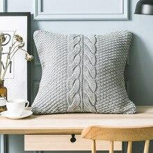 Funda de cojín cuadrada de punto de dónxdeco funda de almohada Vintage Simple industria gris tejido clásico cálido sofá suave silla Art Deco