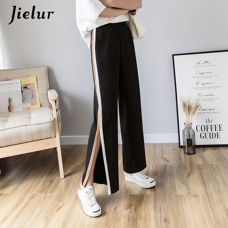 Jielur Chic   Wide     Leg     Pants   Female Spring Summer 2019 Young Split Striped   Pants   Women Korean Loose Casual Black Pantalones Mujer