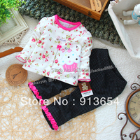 Free shipping new 2017 spring autumn baby clothing set baby girl print pullover dot pants sets baby wear girls top trousers