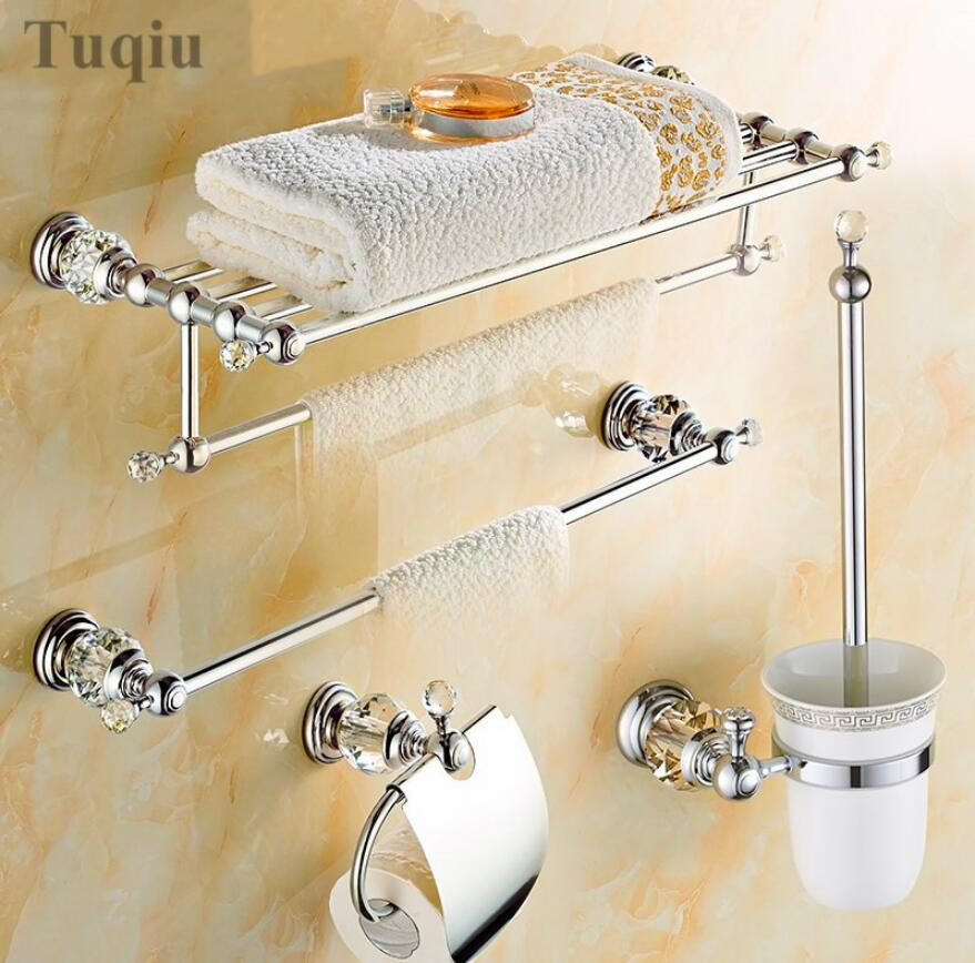 Clear crystal bathroom accessories sets silver polished - Polished chrome bathroom accessories ...