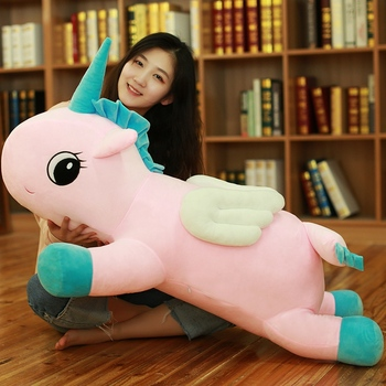 large 100cm pink unicorn plush toy lovely prone unicorn soft doll hugging pillow Christmas gift s2713
