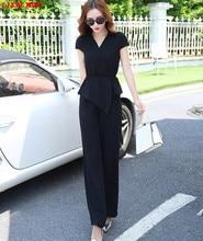 2017 Women Summer Sexy Two Piece Set Crop Top and Wide Leg Pants Plus Size Office Ladies Chiffon Trouser Suit Work Business Sets