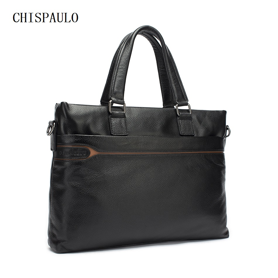CHISPAULO Men Messenger Bags Portable Briefcase Leather Laptop Bag 14 Handbag Shoulder Crossbody Bag Genuine Leather Men T737 bvp free shipping new men genuine leather men bag briefcase handbag men shoulder bag 14 laptop messenger bag j5