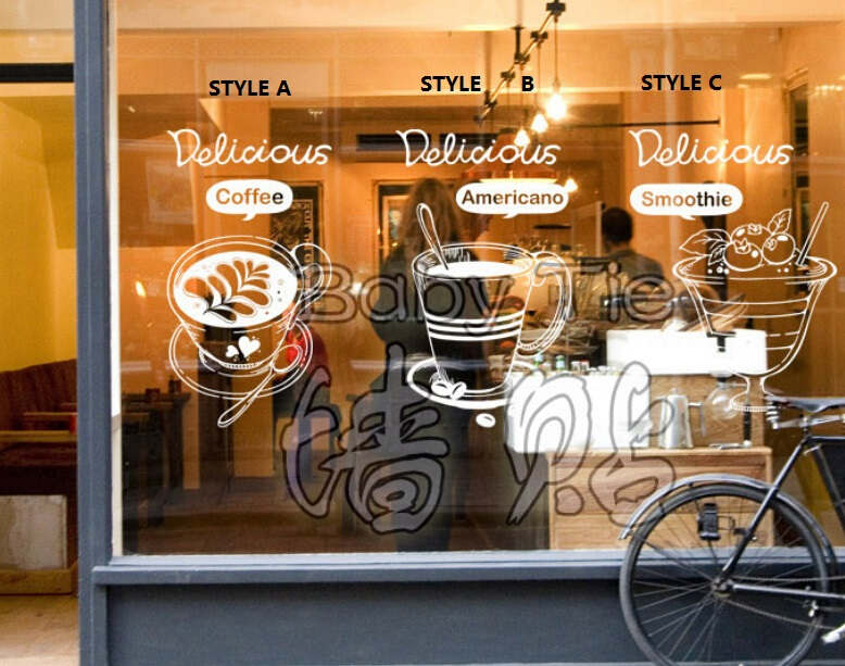 Coffee shop vinyl wall decal bakery coffee tea americano smoothie wall sticker coffee shop restaurant window glass decoration in wall stickers from home