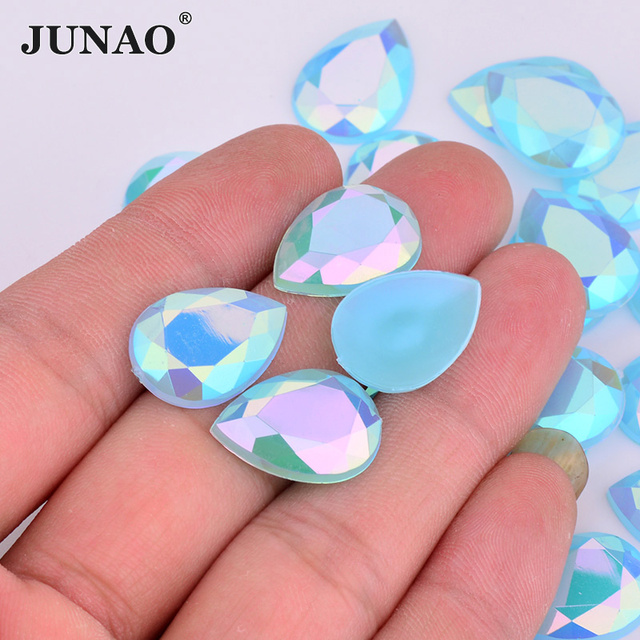 JUNAO 10 14mm 13 18mm Drop Shape Aquamarine AB Crystal Rhinestones Flatback  Acrylic Crystals Stones Non Sewing Strass Beads 74234b48ef08