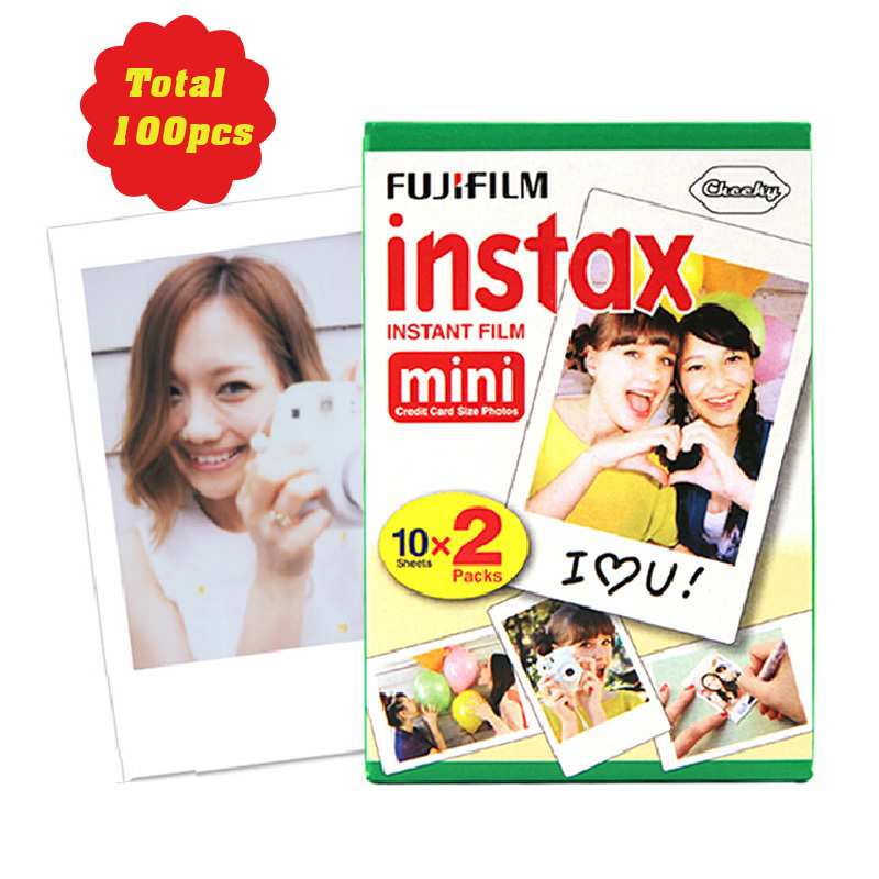 100 sheets Fujifilm photo paper Instax Mini film for Instant Camera mini 8 7s 25 50s 90 White Edge 3 inch film Photo Paper