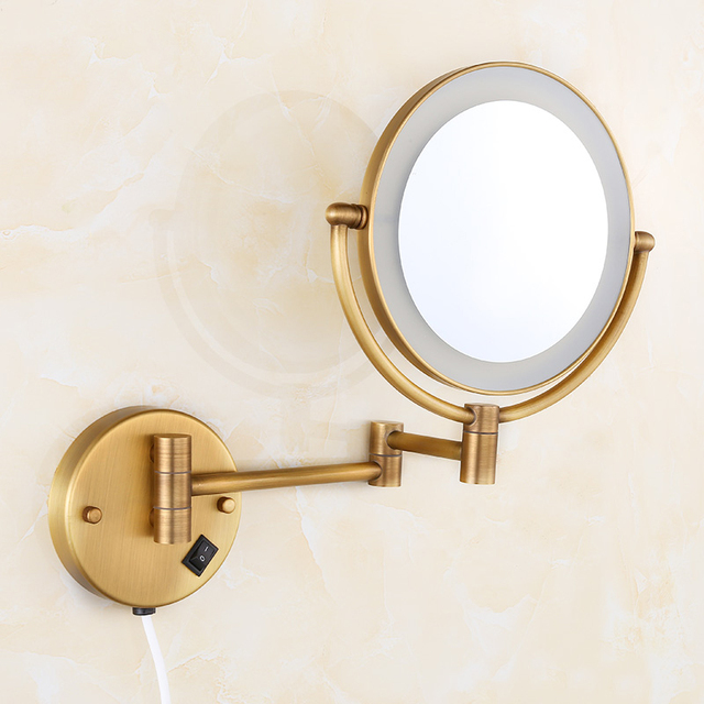 High Quality 8 Brass Antique 1x3 Magnifying Bathroom Wall Mounted Round Led Cosmetic Makeup Mirror