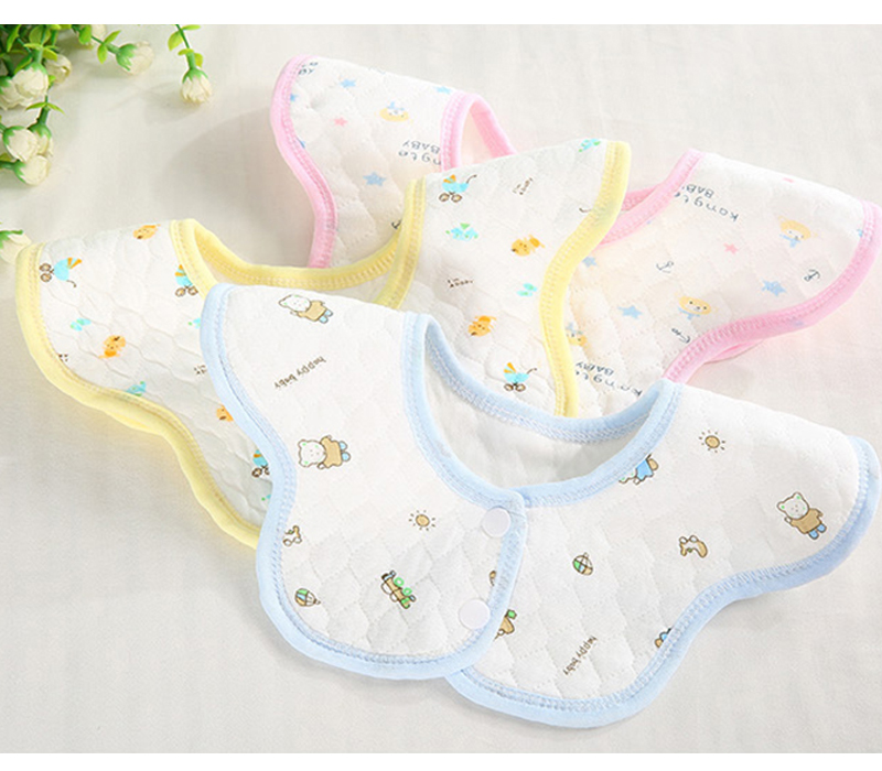 baby bibs cotton bibs& burp cloth slobber cartoonr round bib waterproof Rotating circular snap pocket meal 360-degree 3 optional