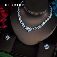 HIBRIDE Luxury White Gold Color Water Drop Cluster Round Shape Shiny CZ Stone Wedding Jewelry Sets For Bridal N-70(China)