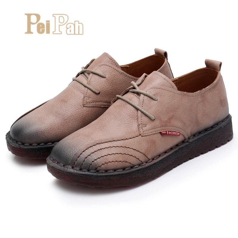 732d68520e3d De Tenis Sapatos Sólida Handmade Femininos Zapatos Couro 3 Rendas 4 Vaca  Oxfords Primavera Peipah Mulheres Até Mujer 2 Apartamentos ...
