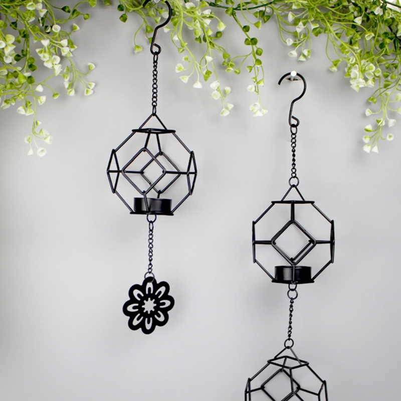 Hot Hollow Metal Iron Wall Hanging Candle Holder Home ... on Metal Candle Holders For Wall id=68439