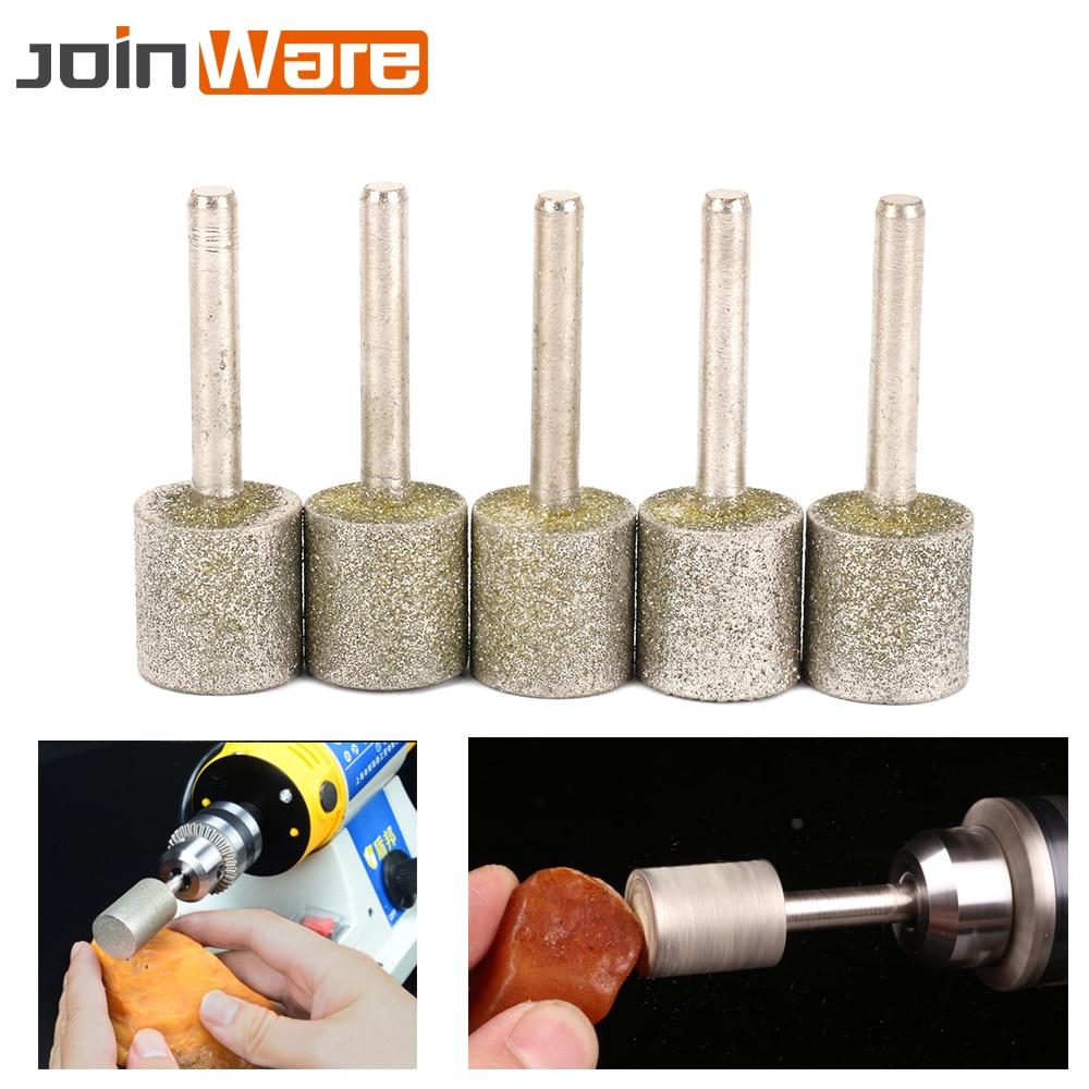 цена на 5PC 20mm Head 6mm Shank Diameter Diamond Coated Head Cylinder Grinding Mounted Point Burrs Bit Set For Rotary Tool Metalworking