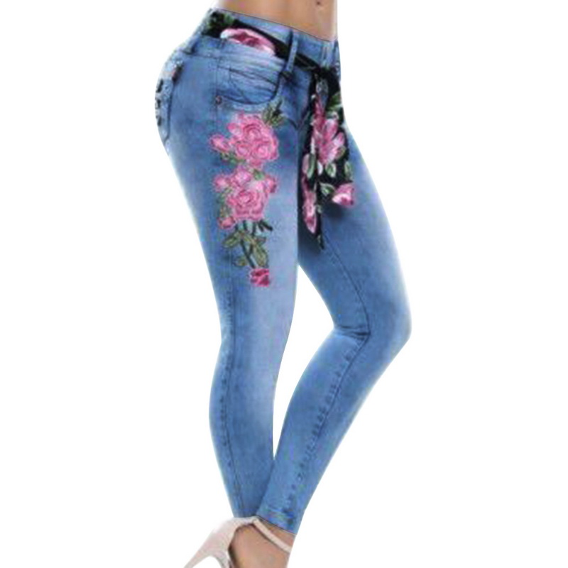 Litthing Women   Jeans   Stretch High Waist Skinny Embroidery   Jeans   Floral Print Denim Pants Trousers Women Pencil Pant Plus Size